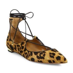 Aquazzura  Cristi leopard lace up calf hair flats